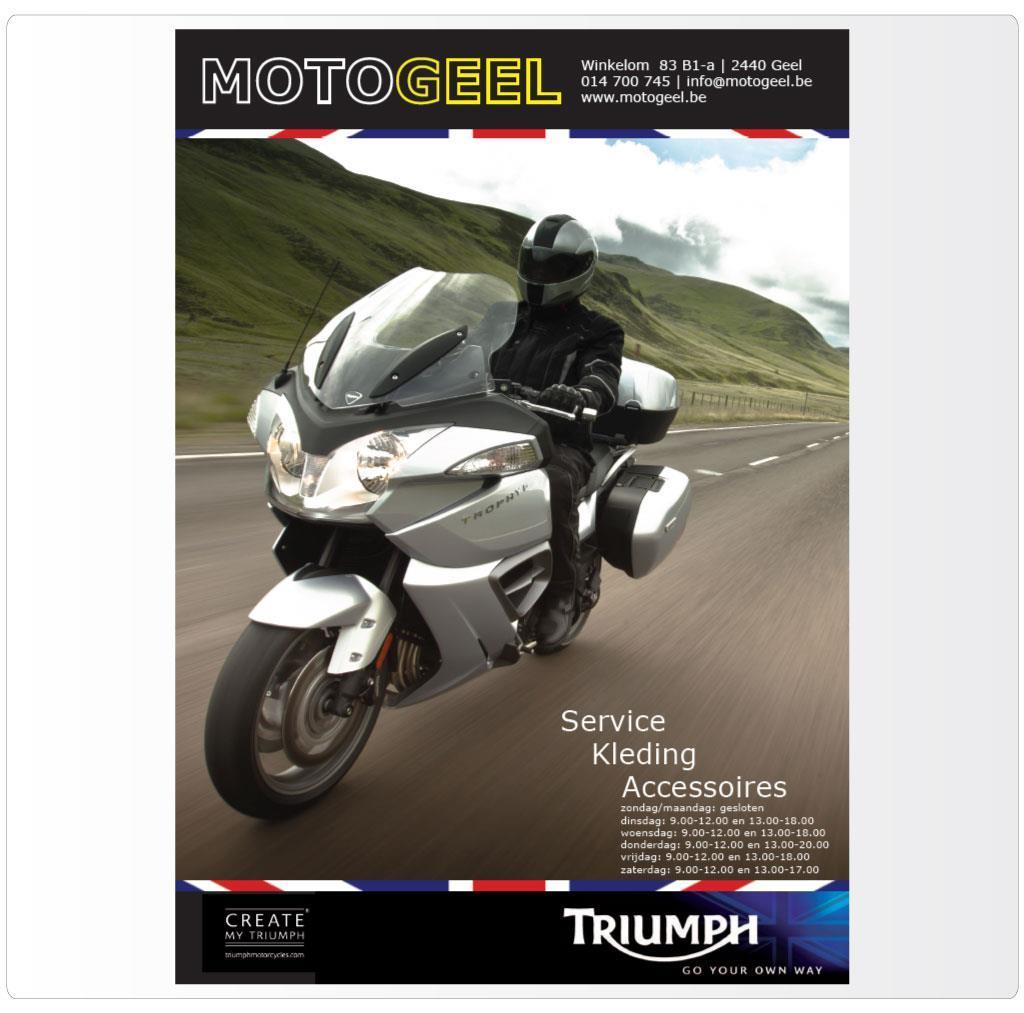 Leaflet voor MotoGeel, Triumph motordealer