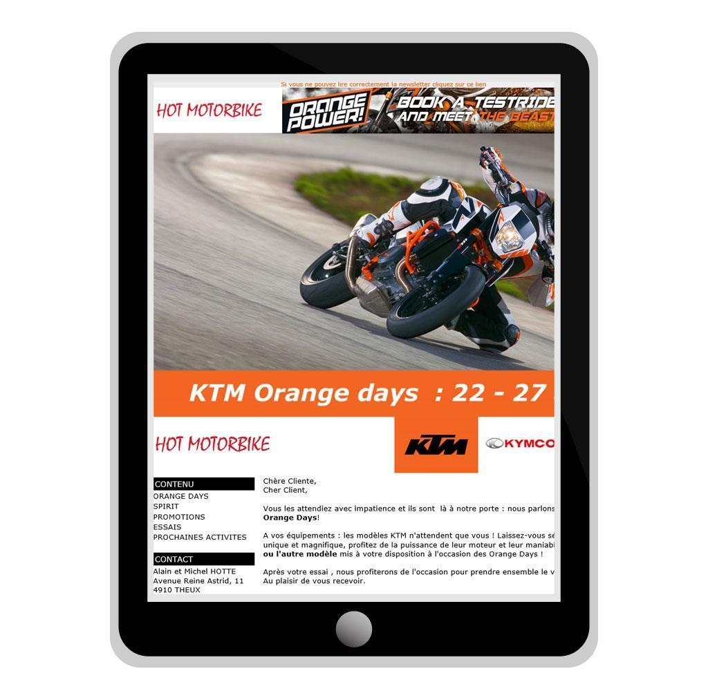 Nieuwsbrief van HotMotorbike, KTM en Triumph motordealer in Luik