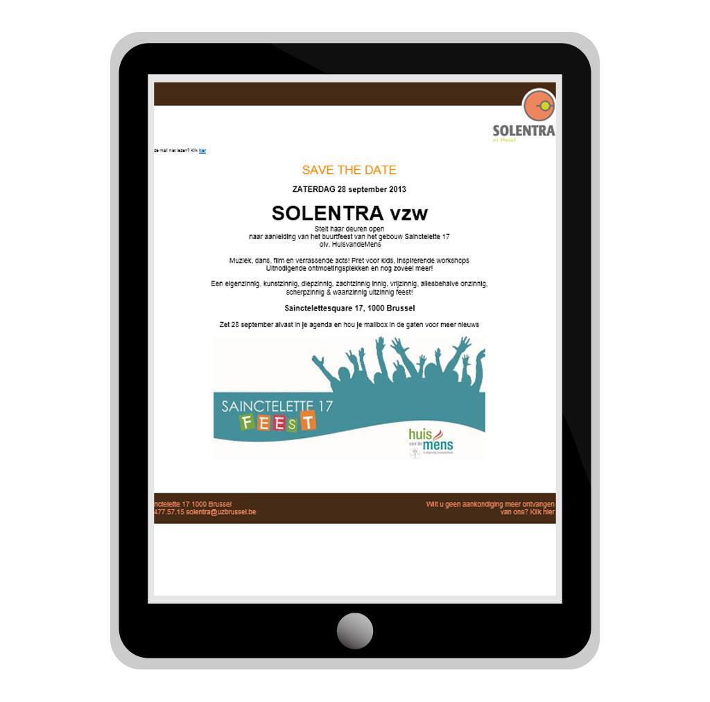 Nieuwsbrief voor Solentra, een sociale organisatie in Brussel