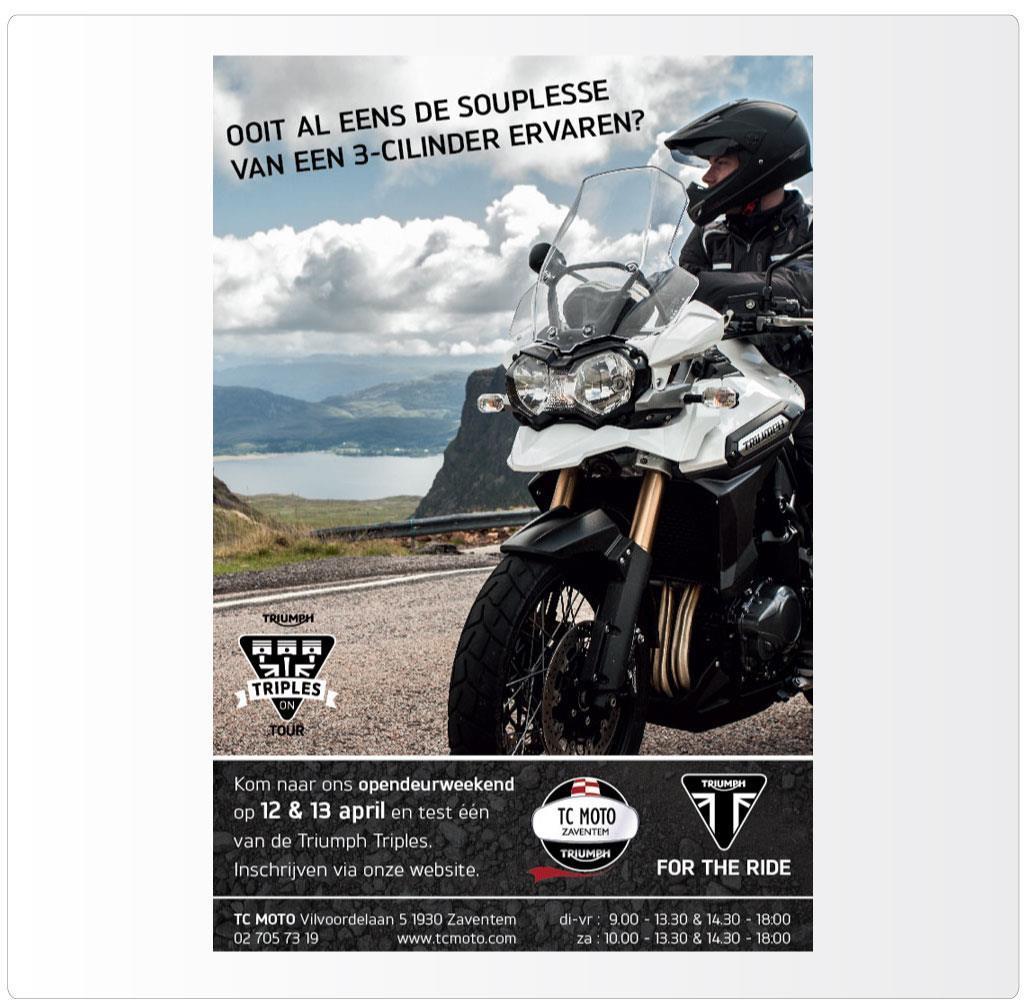 Advertentie voor TC Moto Zaventem, Triumph motordealer