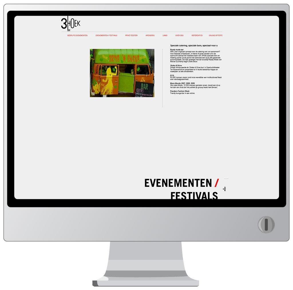 Website voor 3hoek, catering