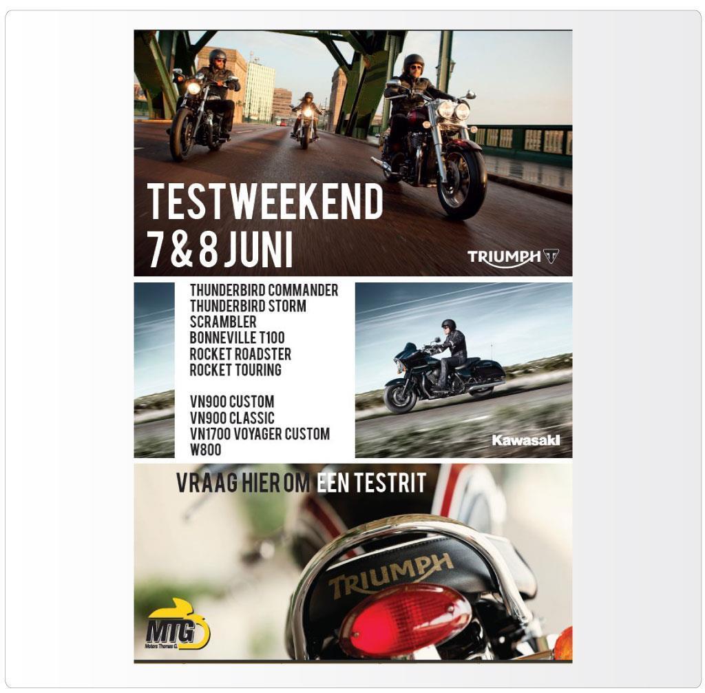 Advertentie voor Motors Thomas G., Triumph & Kawasaki motordealer Antwerpen