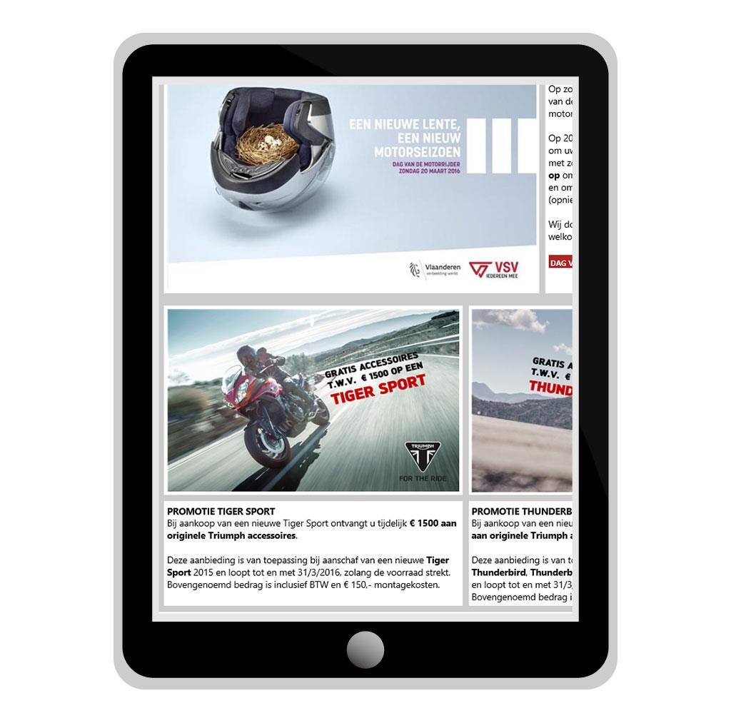 Nieuwsbrief voor Moto Geel, Triumph motordealer