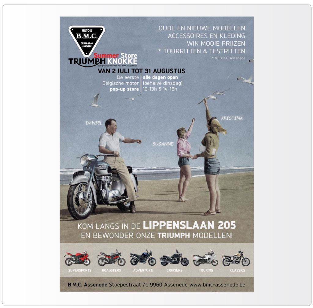 Advertentie voor BMC Assenede, Triumph motordealer