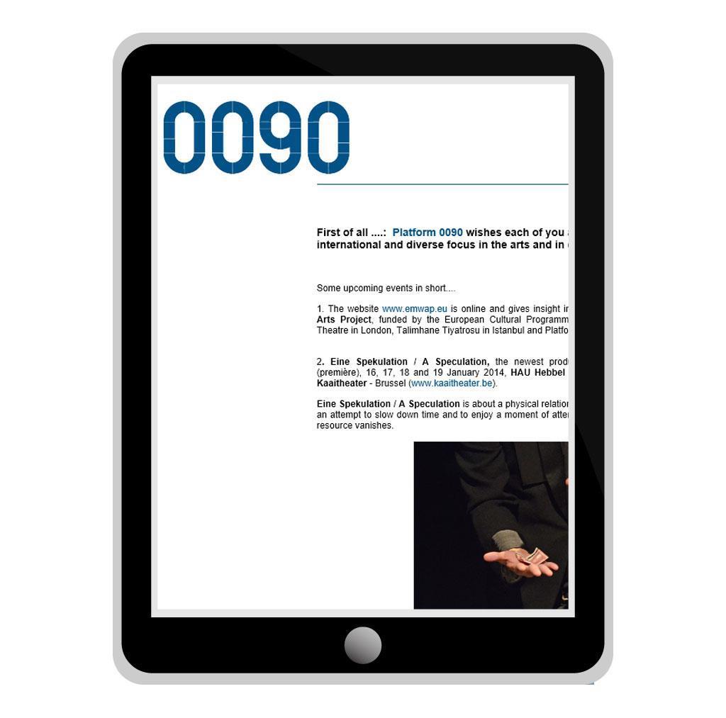 Nieuwsbrief voor 0090, werkplaats voor kunstenaars in Antwerpen en Istanbul