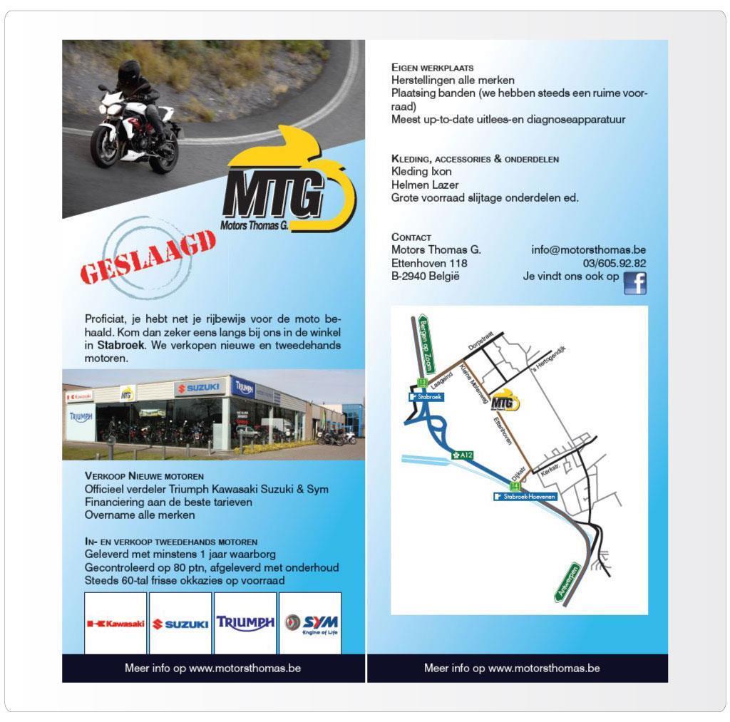 Flyer voor Motors Thomas G., Triumph & Kawasaki motordealer Antwerpen