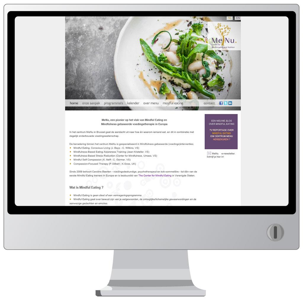Website voor MeNu, centre for mindfuleating and nutrition