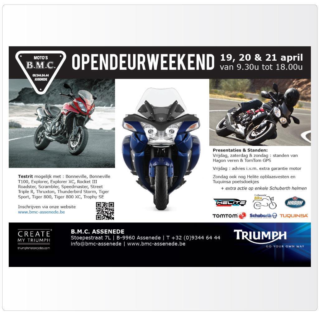 Flyer voor opendeurweekend van BMC Assenede, Triumph motordealer