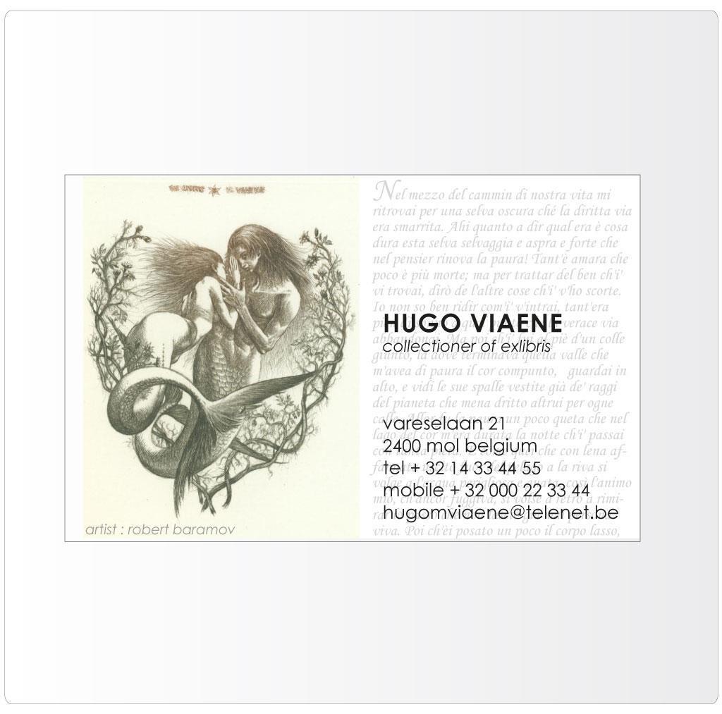 Ex-libris, naamkaartje voor Hugo Viaene