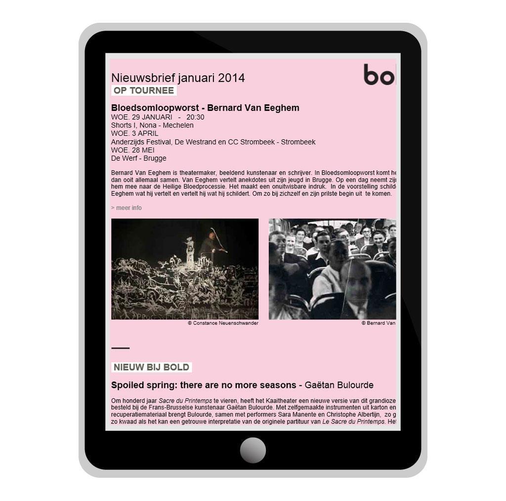 Nieuwsbrief voor Bold, zakelijk kantoor voor kunstenaars in Brussel