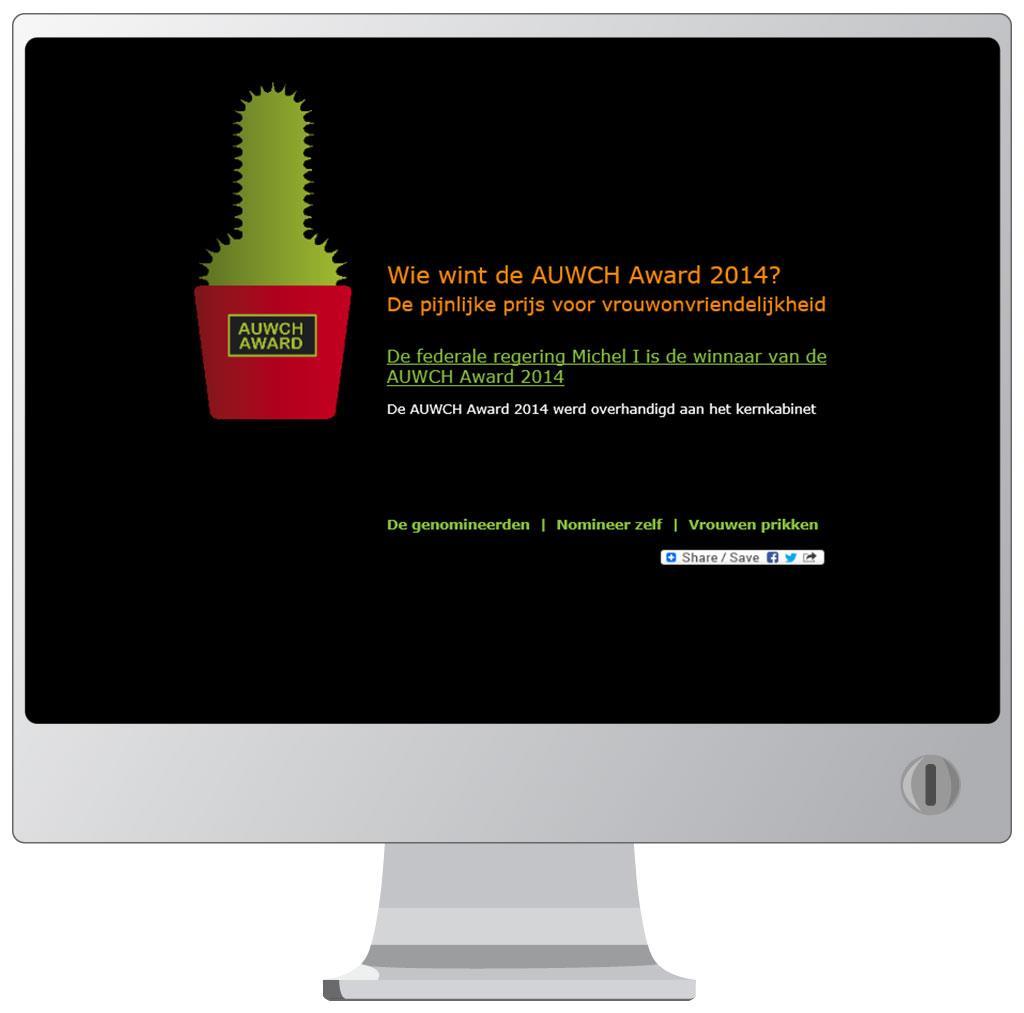 Website voor Auwch Award voor de Vrouwenraad