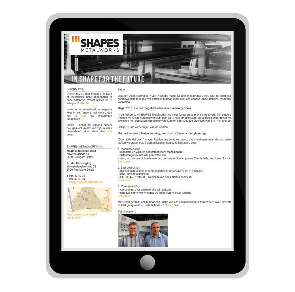 Nieuwsbrief voor Shapes Metalworks, een metaalbedrijf in Kortrijk