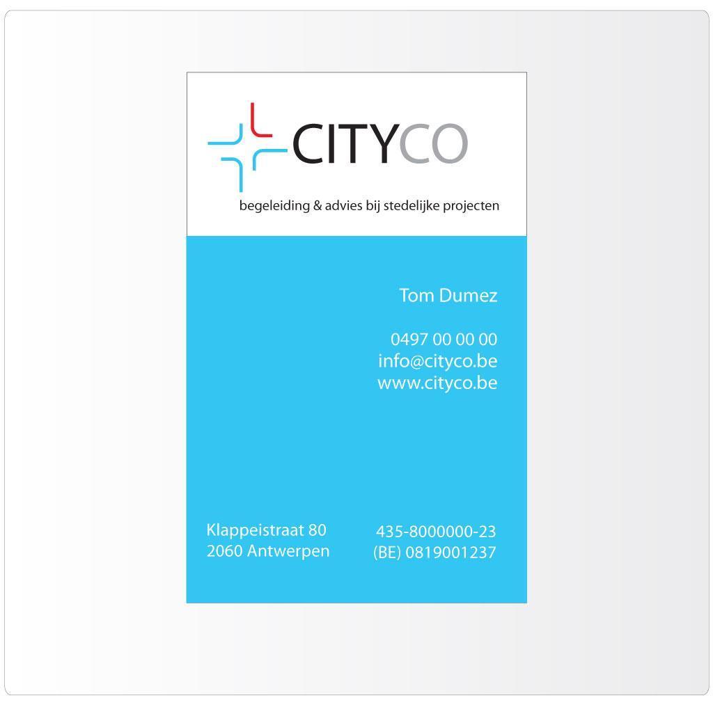 Naamkaartje voor CityCo, city consultancy Antwerp