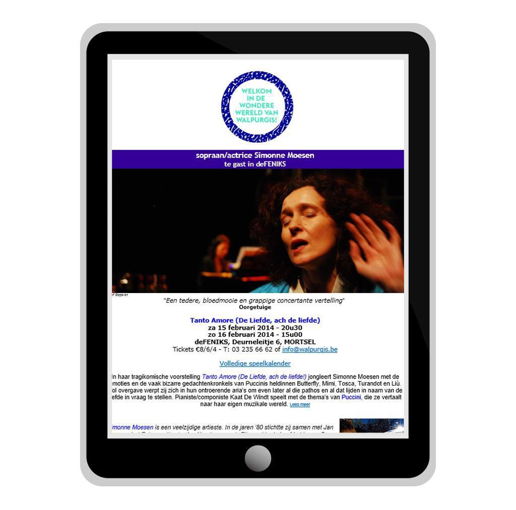 Nieuwsbrief voor Walpurgis, muziek theater in Antwerpen
