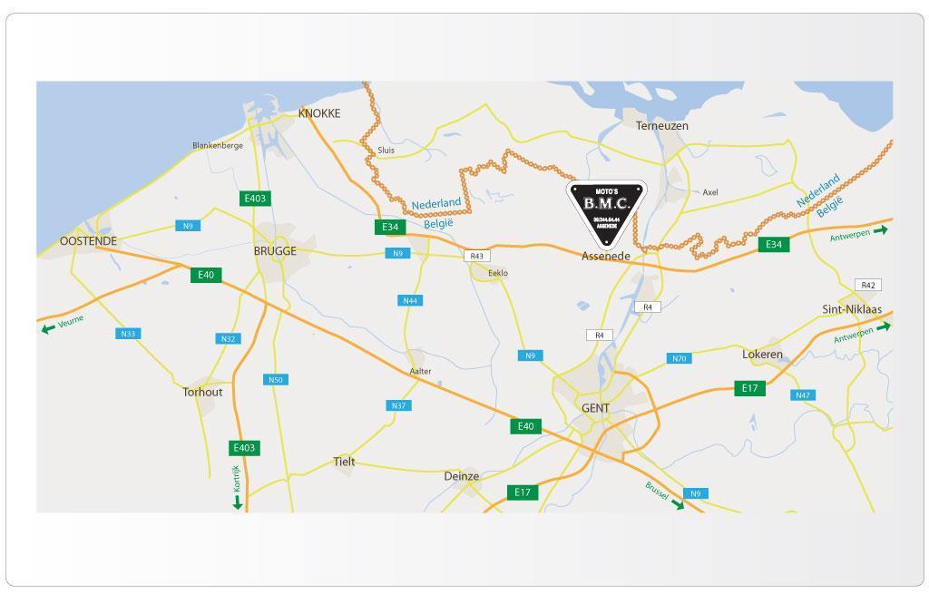 Grafische wegbeschrijving voor BMC Assenede, Triumph motordealer