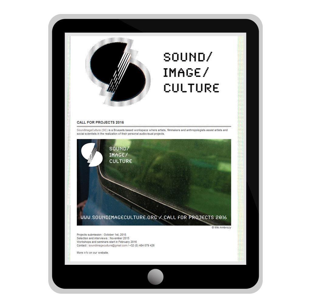 Nieuwsbrief voor SoundImageCulture, culturele organisatie in Brussel
