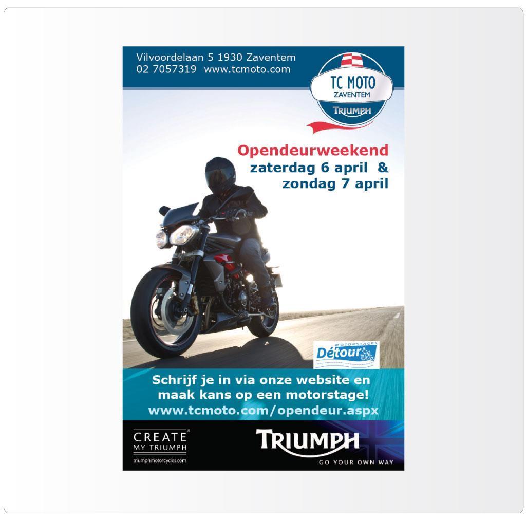 Flyer voor TC Moto Opendeurweekend, Triumph motordealer in Zaventem