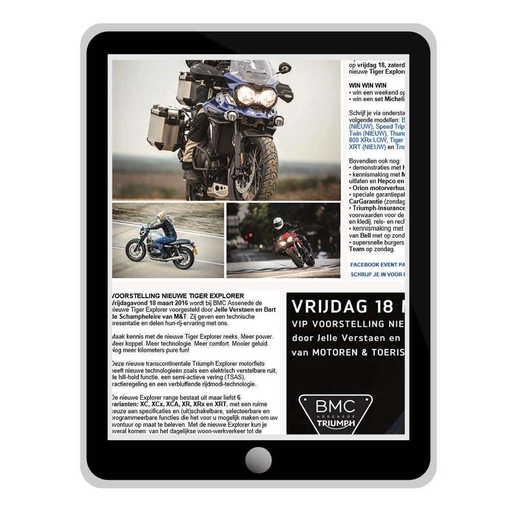 Nieuwsbrief voor BMC Assenede, Triumph motordealer